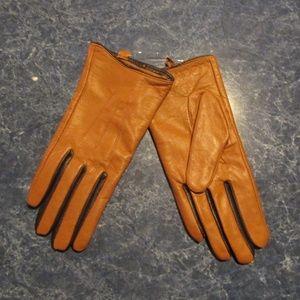 Calvin Klein Women's Leather Contrast Color Gloves